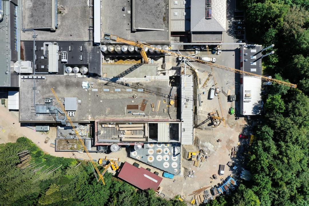 Drohnenfoto Baufortschritt Woerle Baustelle von oben 8 Juli WEBSITE